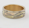 Gold Mokume Band in !8K Yellow and 14k Rose Golds.