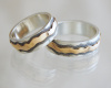 14k Overlay on Seamless Sterling Bands price varies with size