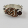 Mokume Dish Ring with Garnet