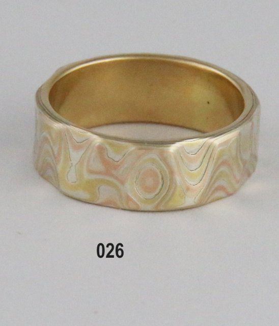 Mokume Gane Band with Three colors of Gold Size 7