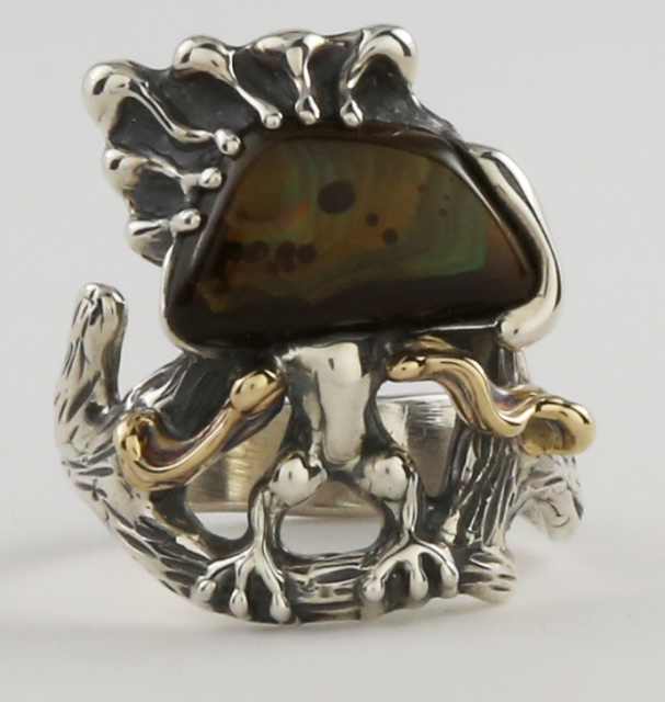 """Crested Whatsis""  Fire Agate, 14K  and Sterling Ring"