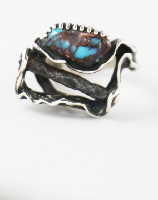 Bisbee Turquoise and Sterling Ring with Nail