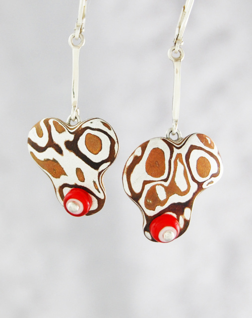 Mokume Earrings with White Heart Beads and Dogbones