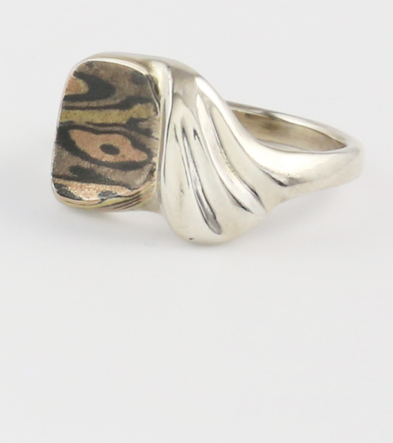 Mokume Gane and Sterling Ring size 6