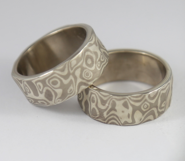 14K White Gold and Sterling Sculpted Mokume bands