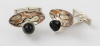 Cufflinks with Black Onyx Cones and Mokume Gane Dishes
