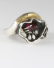 Sterling and 18K ring with Garnet Cone
