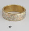 Mokume Gane Three Color Gold Wedding Band Size 11