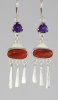 Amethyst and Spiny Oyster Shell Earrings